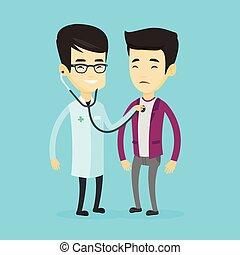 brust, patient., zuhören, doktor