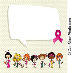 brustkrebs- bewußtsein, begriff, illustration., global, andersartigkeit, frauen, kommunikation, idee, sozial, medien, sprechblase, und, geschenkband, symbol., eps10, vektor, datei, organisiert, in, schichten, für, leicht, editing.