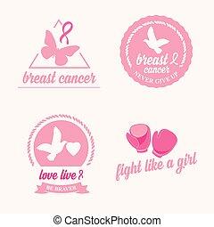 brustkrebs, satz, von, stickers., rosafarbenes band, ikone, design.