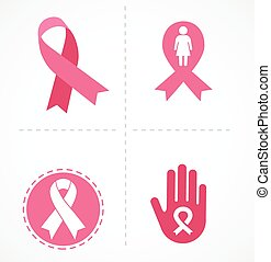 brustkrebs, und, rosafarbenes band, satz