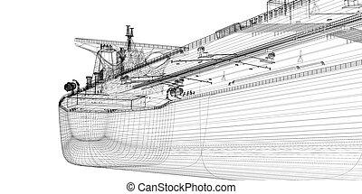 brut, bateau, pétrolier, huile, porteur