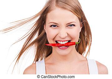 brutaal, als, dit, pepper!, mooi, jonge vrouw , vasthouden,...