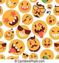 Brutal emoticons. Set. Seamless pattern