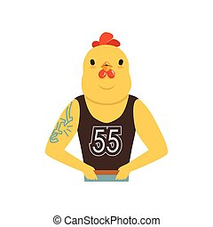 Brutal fashion rooster guy character, hipster bird flat vector illustration