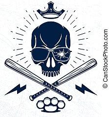Brutal gangster emblem or logo with aggressive skull baseball bats design elements, vector anarchy crime or terrorism retro style, ghetto revolutionary.
