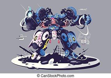 Brutal guy in combat exoskeleton. Robotic equipment...