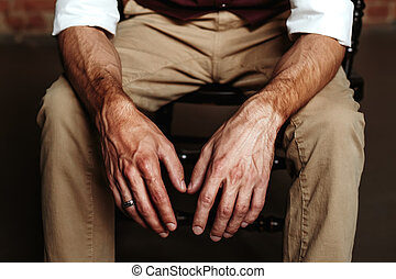 Brutal man`s hands close-up. Masculinity concept.