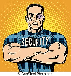 Brutal security guard after a fight pop art retro style....