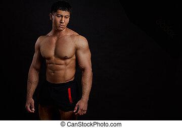 brutale, sportivo, con, ideale, corpo