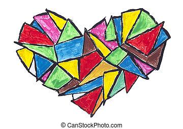 bruten, abstrakt föreställning, hjärta