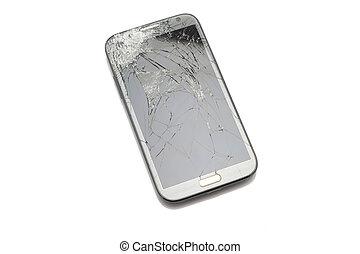 bruten, avskärma, smartphone, isolerat, vit