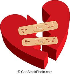 bruten, band-aids, hjärta