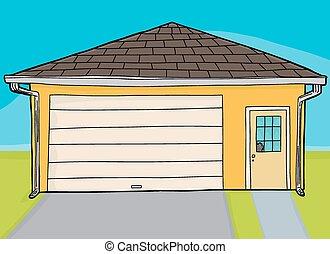 bruten, dörr, gul, garage