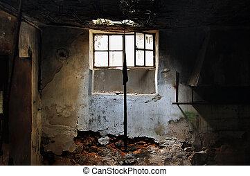 bruten, fönster, genom, solljus