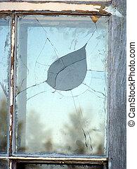 bruten, fönster, pane.
