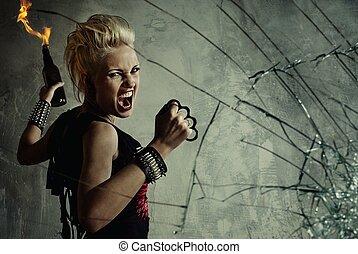 bruten, flicka, punkrock, bak, glas