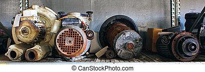 bruten, gård, skräp, särar, motorn