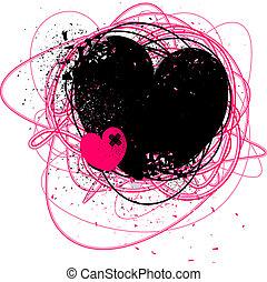 bruten, grunge, hjärta