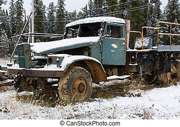 bruten, lastbil, övergiven, snö