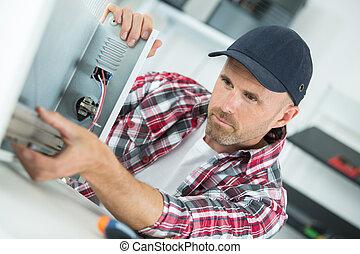 bruten, reparerande, apparat