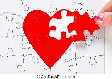 bruten, reparerande, hjärta