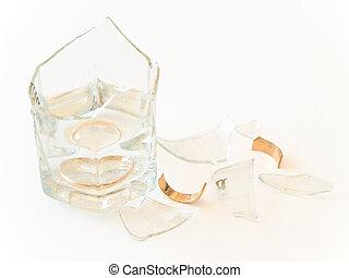 bruten, ringa, glas, guld