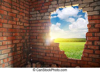 bruten, tegelstenar, vägg