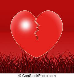 brutet hjärta, visar, fördjupning, ensamhet, och, bedrövelse