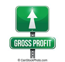 bruto, lucro, sinal estrada, ilustrações, desenho