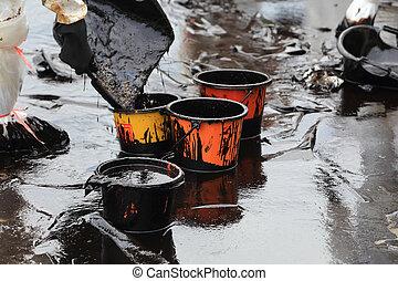 bruto, mancha, óleo, cima, limpo