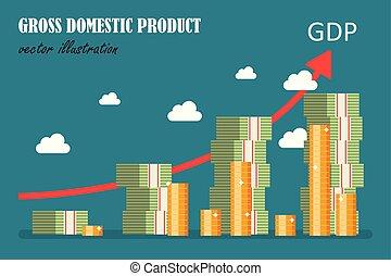 bruto, produto, apartamento, concept., doméstico, ilustração, vetorial, design.