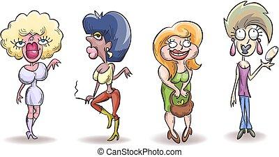 brutto, donna, caricatura, quattro