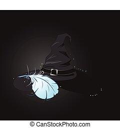 bruxa, azul, chapéu pena
