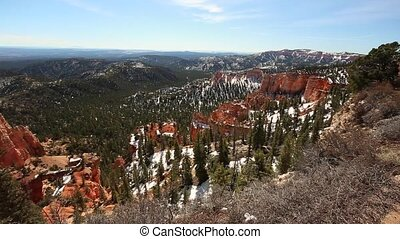 Bryce Canyon in wintertime panning shot