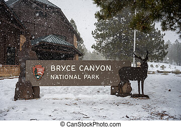 Bryce Canyon National Park, United States: February 13, 2021: Bryce Canyon Sign In Snow at Visitors Center