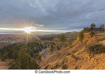 bryce schlucht nationalpark, sonnenaufgang, punkt, ansicht