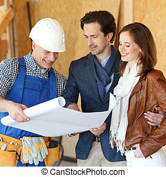 brygadier, plany, dom, widać, projektować