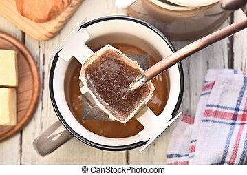 brygg, kaffe, ögonblick, nytt, kopp