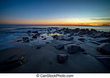 brygga, ocean, atlanten, edisto, vågor, solnedgång strand, södra carolina