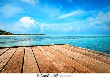 brygga, strand, och, djungel, -, semester, bakgrund