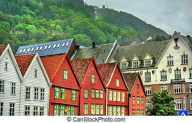 bryggen, distretto, -, famoso, norvegia, bergen, vista
