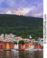 bryggen, -, famoso, calle, noruega, bergen