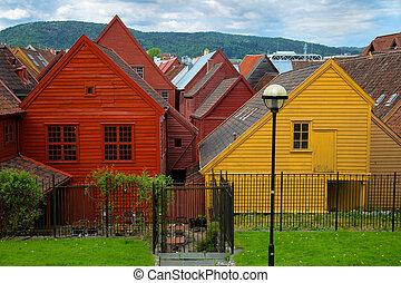 bryggen, norvegia, bergen, colorito, case