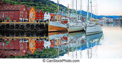 bryggen, unesco, umiejscawiać, ulica, dziedzictwo, łódki, ...