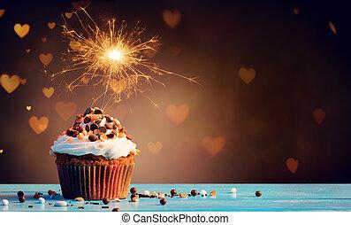 brylant, światła, czekolada, serca, cupcake