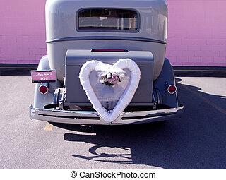 bryllup, automobilen