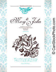 bryllup, card, invitation