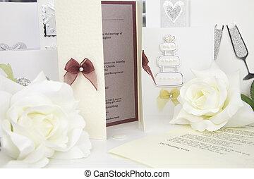 bryllup, card, invitation, manuskrift