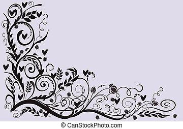 bryllup, card, ramme, hilsenerne, roser, invitation, hjørne blomstrede
