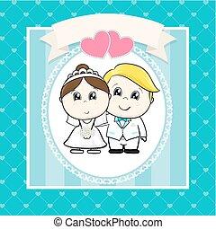 bryllup, cartoon, invitation